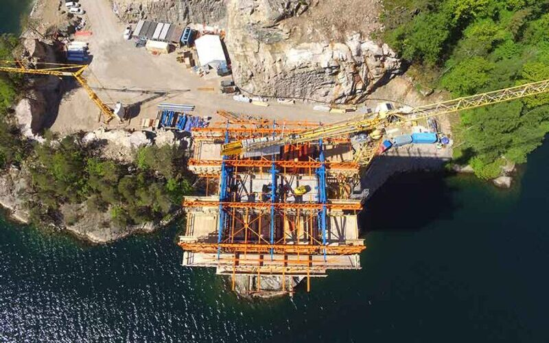 A bridge has been partially constructed by the general contracting firm Kruse Smith.